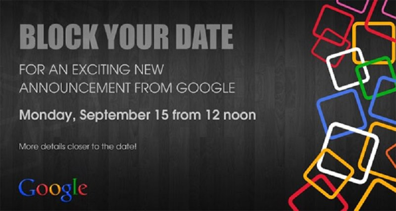Google, spediti gli inviti per l'evento del 15 Settembre