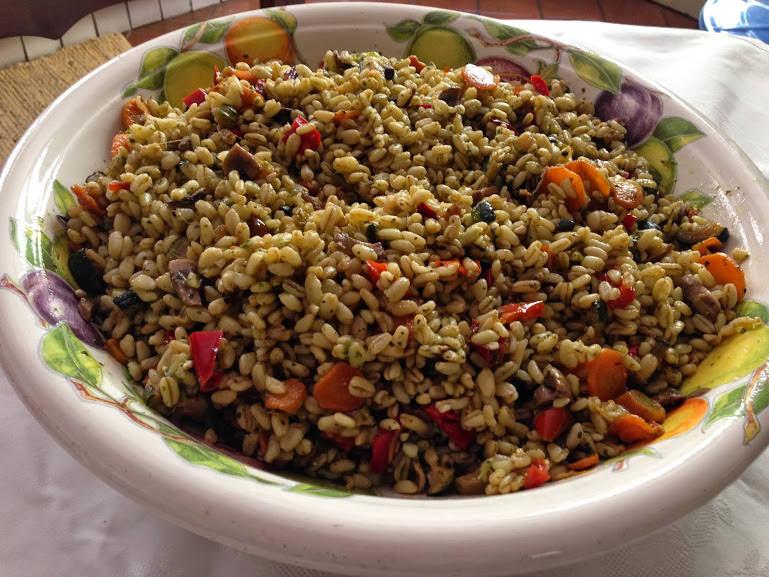 Grano con verdure e pesto alla genovese