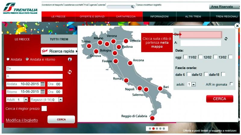 Continuità territoriale negata anche sul portale internet di Trenitalia