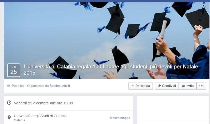 """""""L'università etnea regala 100 lauree"""", lo scherzo che impazza sul web!"""