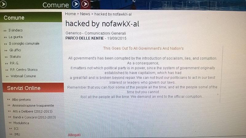 Sito del Comune di Riposto attaccato da hacker