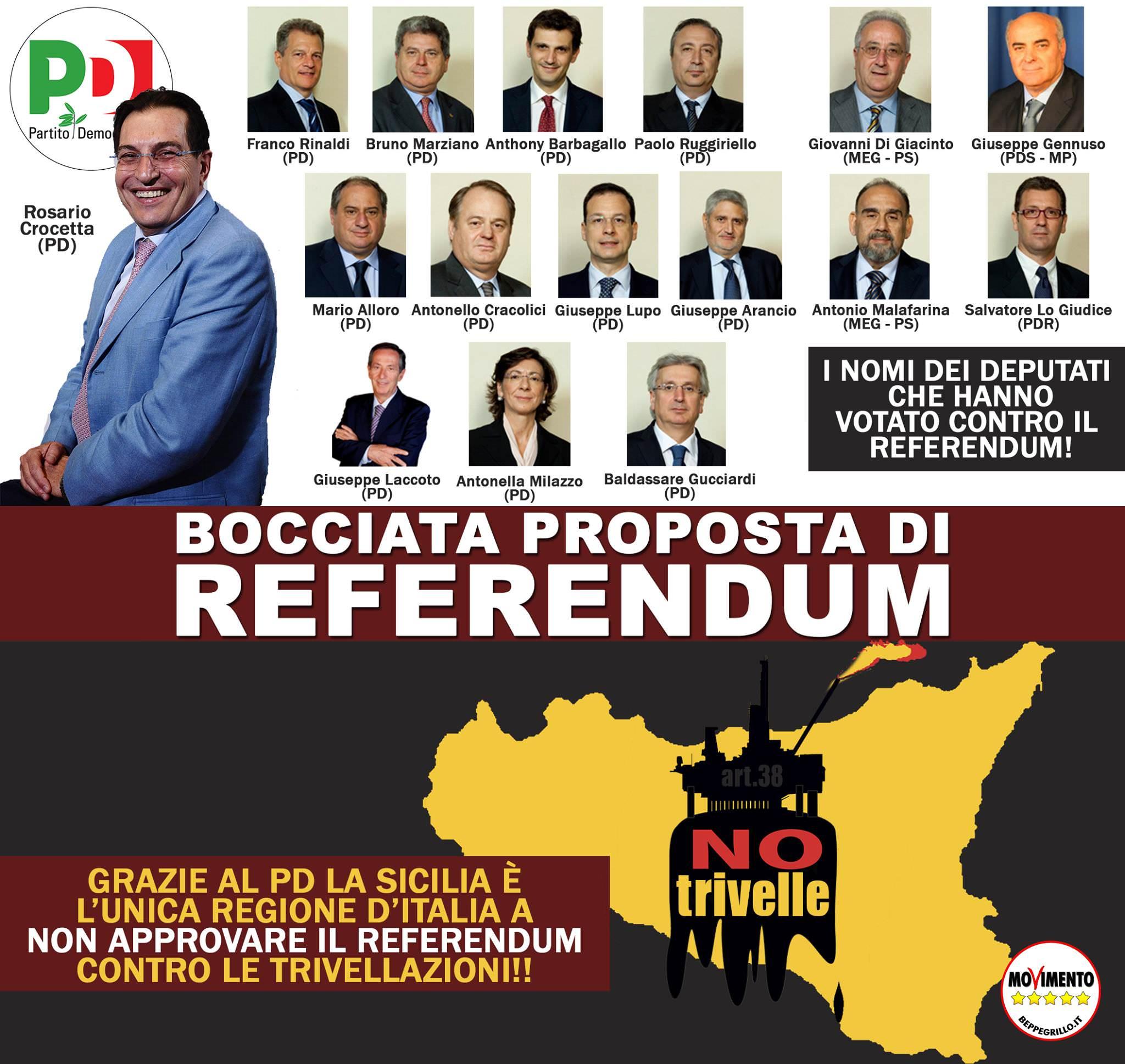 """Ars, il Pd e Crocetta votano a favore delle trivelle. M5S: """"Sicilia svenduta"""""""