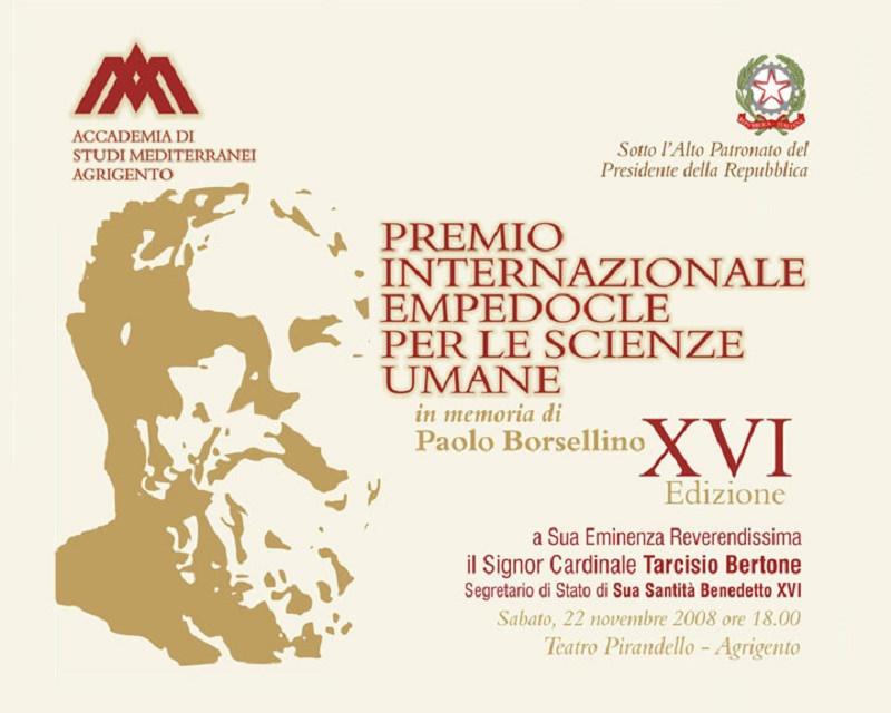 """Al via la 22° edizione del premio internazionale """"Empedocle"""" in memoria di Paolo Borsellino"""