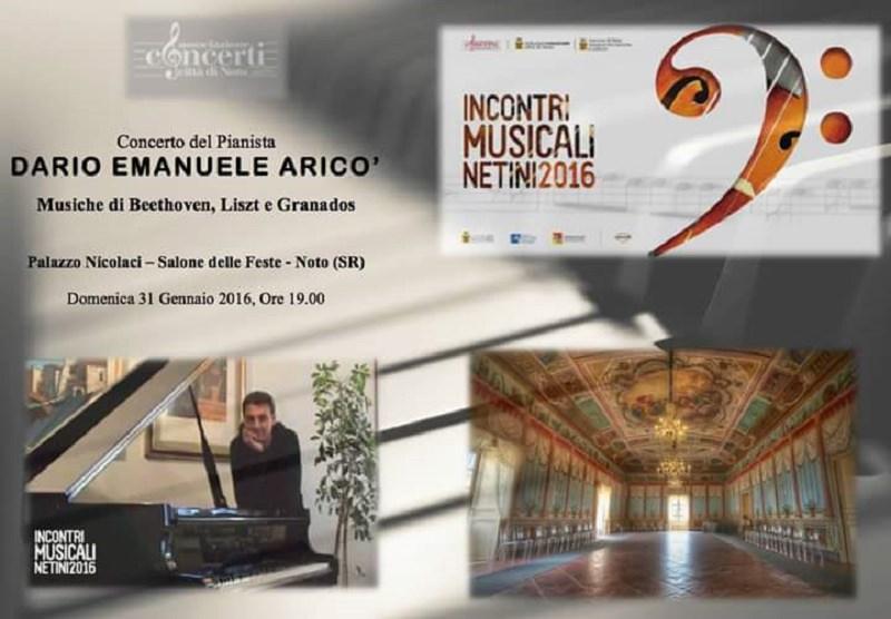 Il pianista Dario Emanuele Aricò in concerto domenica al Palazzo Nicolaci di Noto