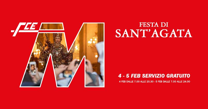 Festività agatine, metropolitana gratis il 4 e 5 febbraio
