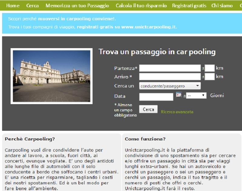 Carpooling, arriva la piattaforma dedicata dell'Università di Catania