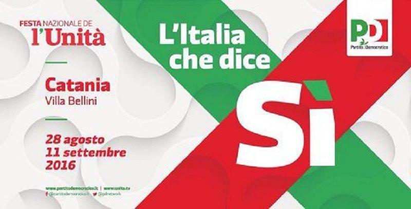 """""""L'Italia che dice Sì"""": da domani a Catania la festa nazionale dell'Unità"""