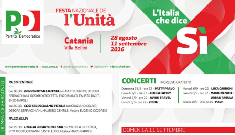 """Campagna per il """"Sì"""" al referendum: al via a Catania la """"Festa nazionale dell'Unità"""""""
