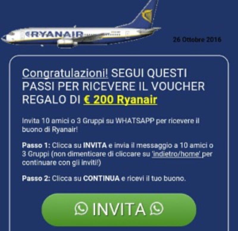 Ryanair, la truffa che spopola su WhatsApp