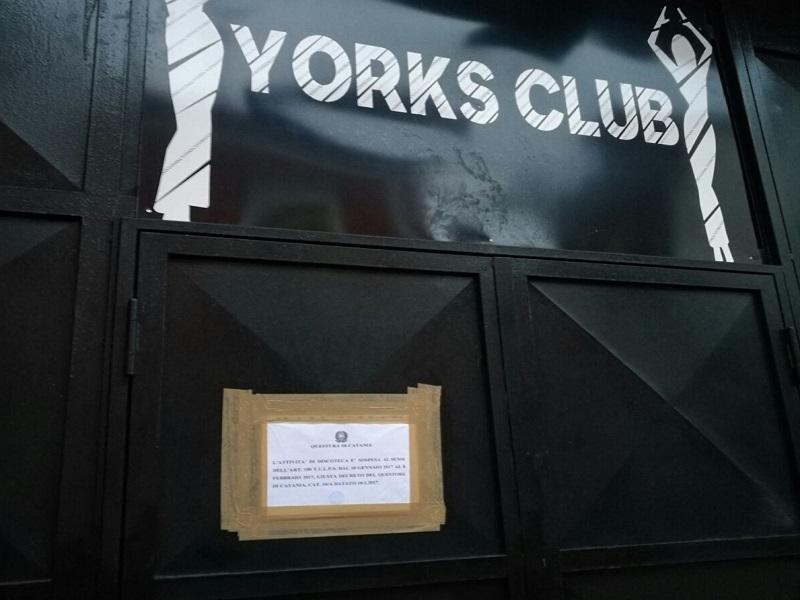 Omicidio Catania, pesanti sanzioni allo York: chiusa la discoteca
