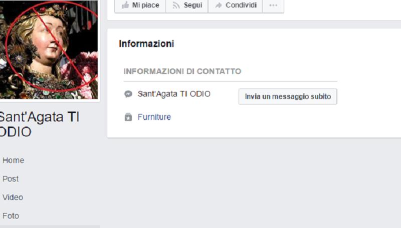 """""""Sant'Agata TI ODIO"""", spunta la foto di un Carabiniere ucciso. Continua la blasfemia…"""