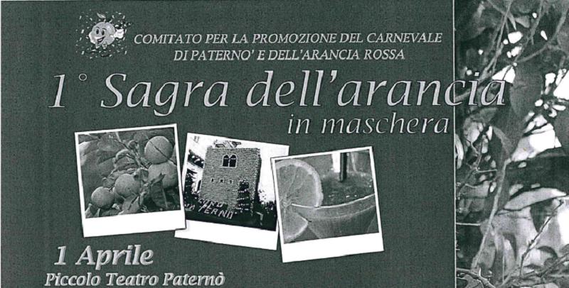 """Paternò, sabato la """"Sagra dell'arancia in maschera"""" al Piccolo Teatro"""