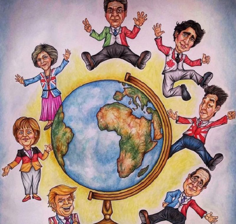 G7 di Taormina, i 7 potenti in cartapesta