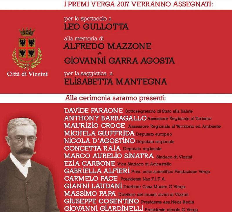 Domani a Vizzini il Premio Verga