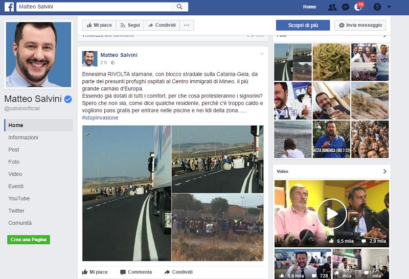 """Protesta al Cara di Mineo, Salvini: """"Dotati di tutti i comfort, per cosa protestano i signorini?"""""""