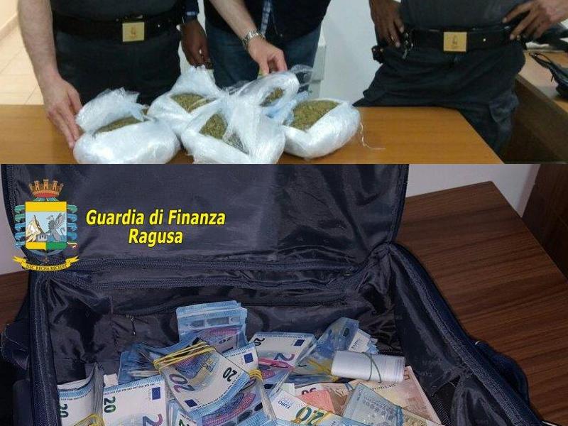 Oltre 6 chili di marijuana e 200 mila euro diretti a Malta: la Finanza non perdona