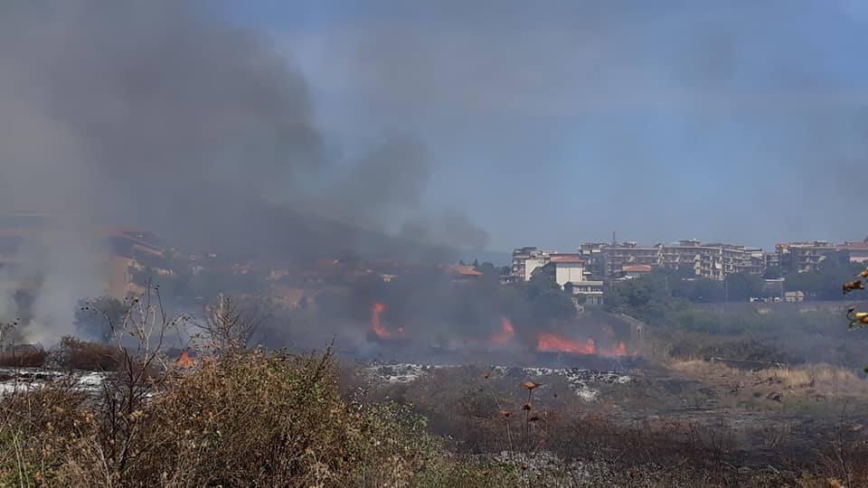 Vasto incendio nella zona dello stadio Tupparello: fiamme minacciano abitazioni – FOTO