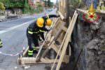 Sisma di Santo Stefano: vigili del fuoco mettono in sicurezza muro sulla SP 148 – FOTO