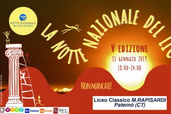 """V Edizione della Notte Nazionale del Liceo Classico: il programma dell'evento all'istituto """"Mario Rapisardi"""" di Paternò"""