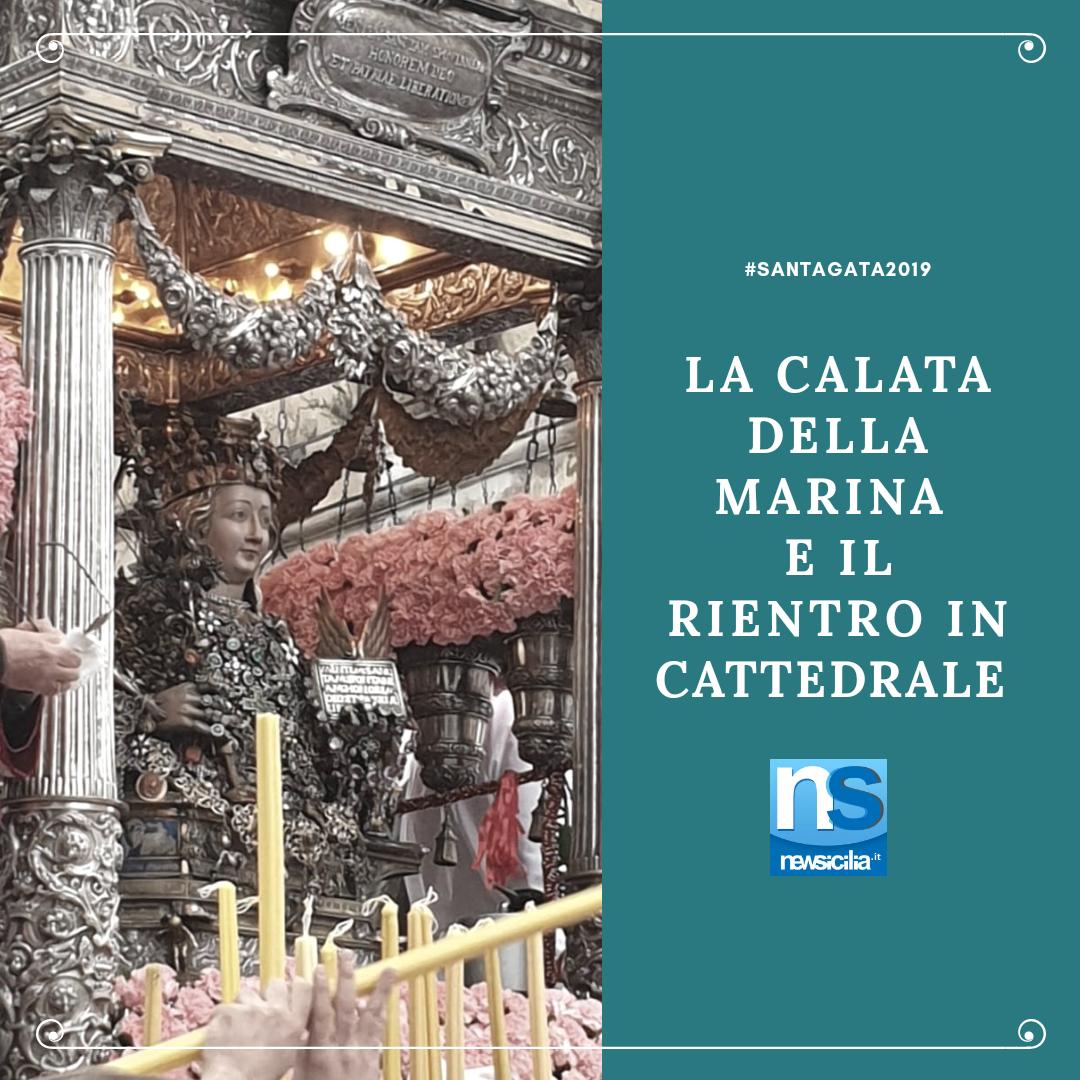 """Sant'Agata va di """"fretta"""", il maltempo stravolge il giro esterno: in cammino verso la calata della marina e il rientro in Cattedrale"""
