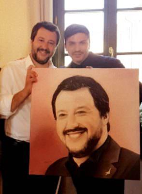 """L'artista catanese Alfonso Restivo ritrae il ministro Salvini: """"I quadri non hanno colore politico"""""""