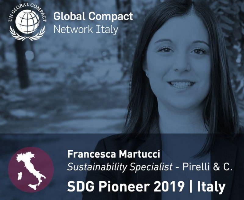 RICONOSCIMENTO SDG PIONEER ITALY 2019 A FRANCESCA MARTUCCI DI PIRELLI