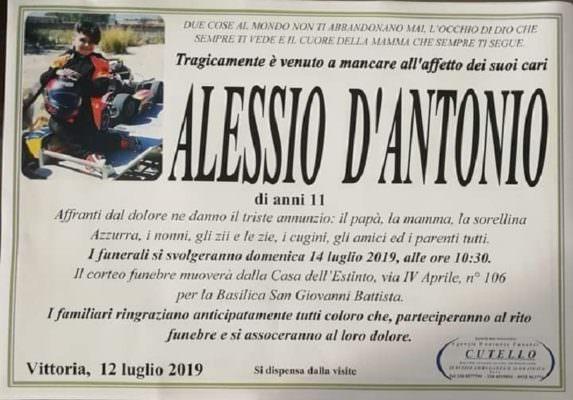 Domani i funerali di Alessio D'Antonio: dubbi morali sull'agenzia funebre, lutto cittadino a Vittoria