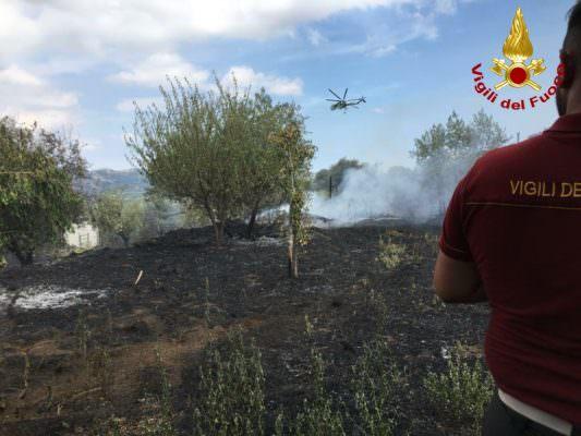Vasto incendio nel Catanese, FOTO e VIDEO dell'intervento dei vigili del fuoco