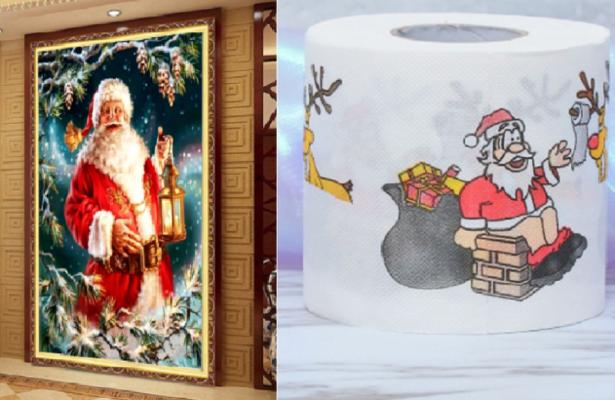 """Corna per la macchina, carta igienica a tema o Babbo Natale gigante di strass? I regali più """"trash"""" acquistabili sul web – FOTO"""