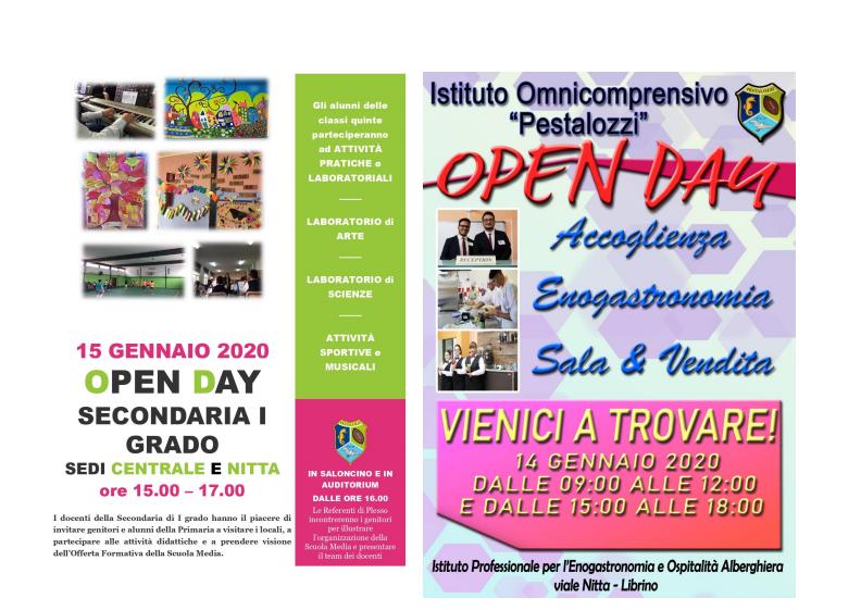 """Catania, dal 13 al 16 gennaio 2020 gli Open Day della """"Pestalozzi"""": venite a scegliere il vostro futuro!"""