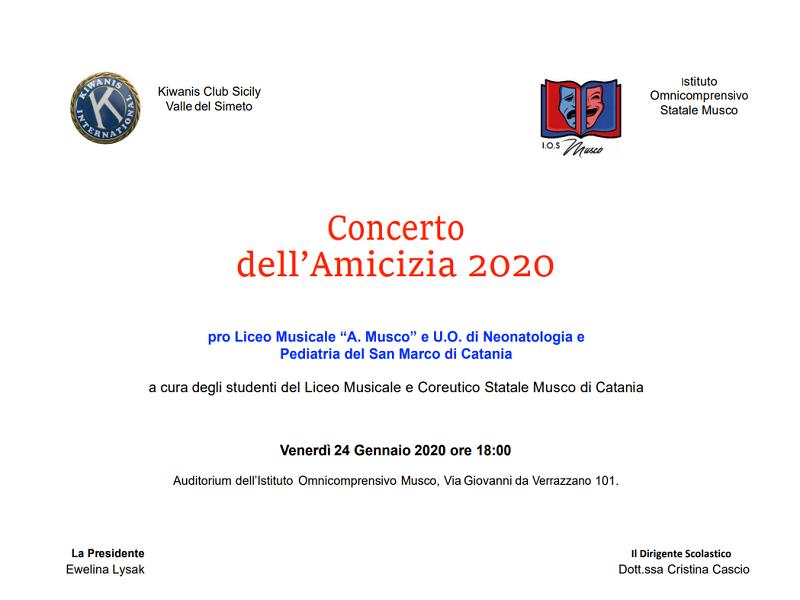 """Arte e musica, tutto pronto per il """"Concerto dell'Amicizia 2020″ dell'""""Angelo Musco"""": l'appuntamento è per domani"""
