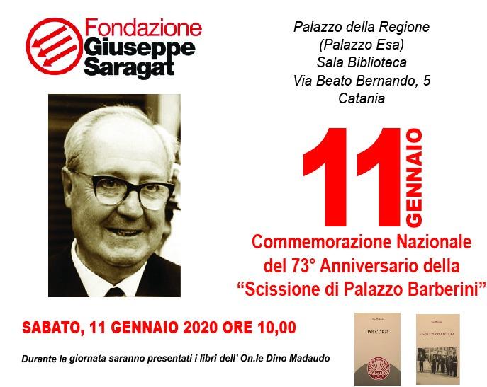 Catania, 73esimo anniversario Scissione di Palazzo Barberini: Onorevole Madaudo presenterà due libri