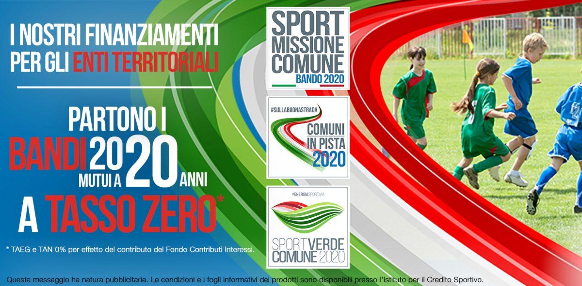 Credito Sportivo e Anci insieme per finanziamenti a tasso zero