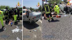 """Dettagli sull'incidente della A18, auto """"vola"""" nella corsia opposta: 5 giovani feriti – Le FOTO"""