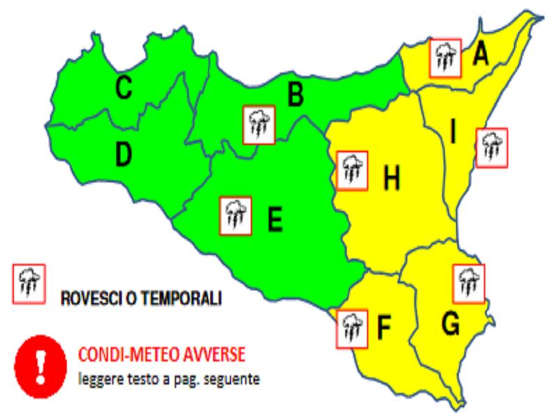 Meteo, nuova allerta gialla sul settore orientale della Sicilia: previste piogge anche domani