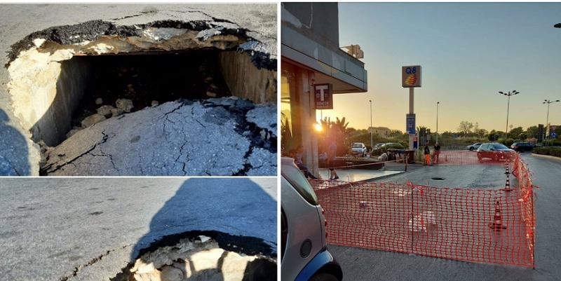 Paura a Siracusa, cede un canale di raccolta delle acque meteoriche e sprofonda l'asfalto