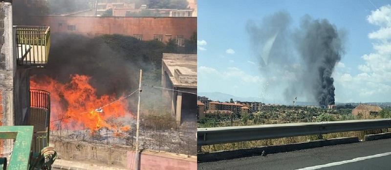 Duplice incendio nel Catanese: le fiamme hanno raggiunto anche alcune abitazioni vicine – FOTO