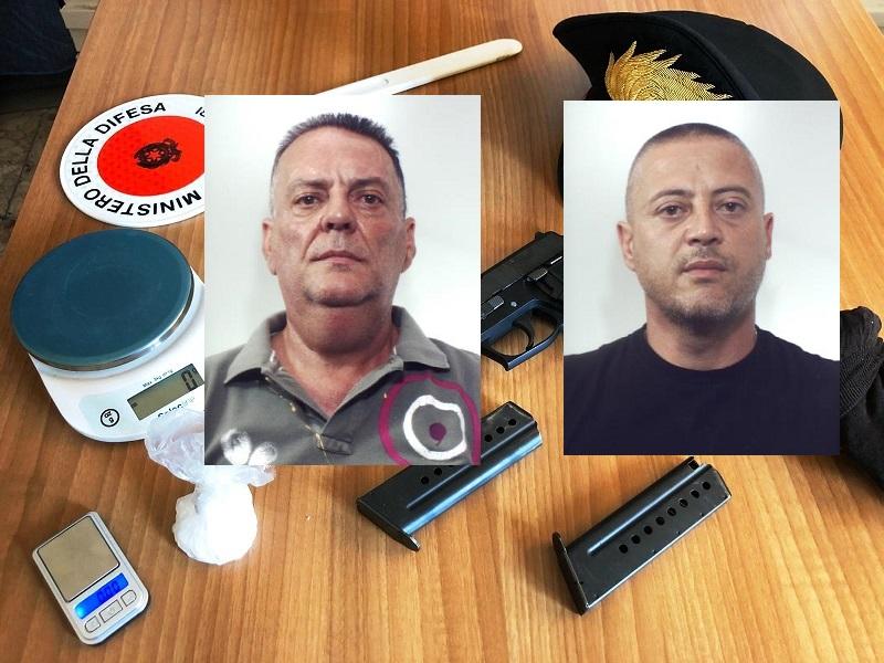 Pistola carica e droga in casa nel Catanese, arrestati Alfredo Cavallaro e Pietro Pastanella