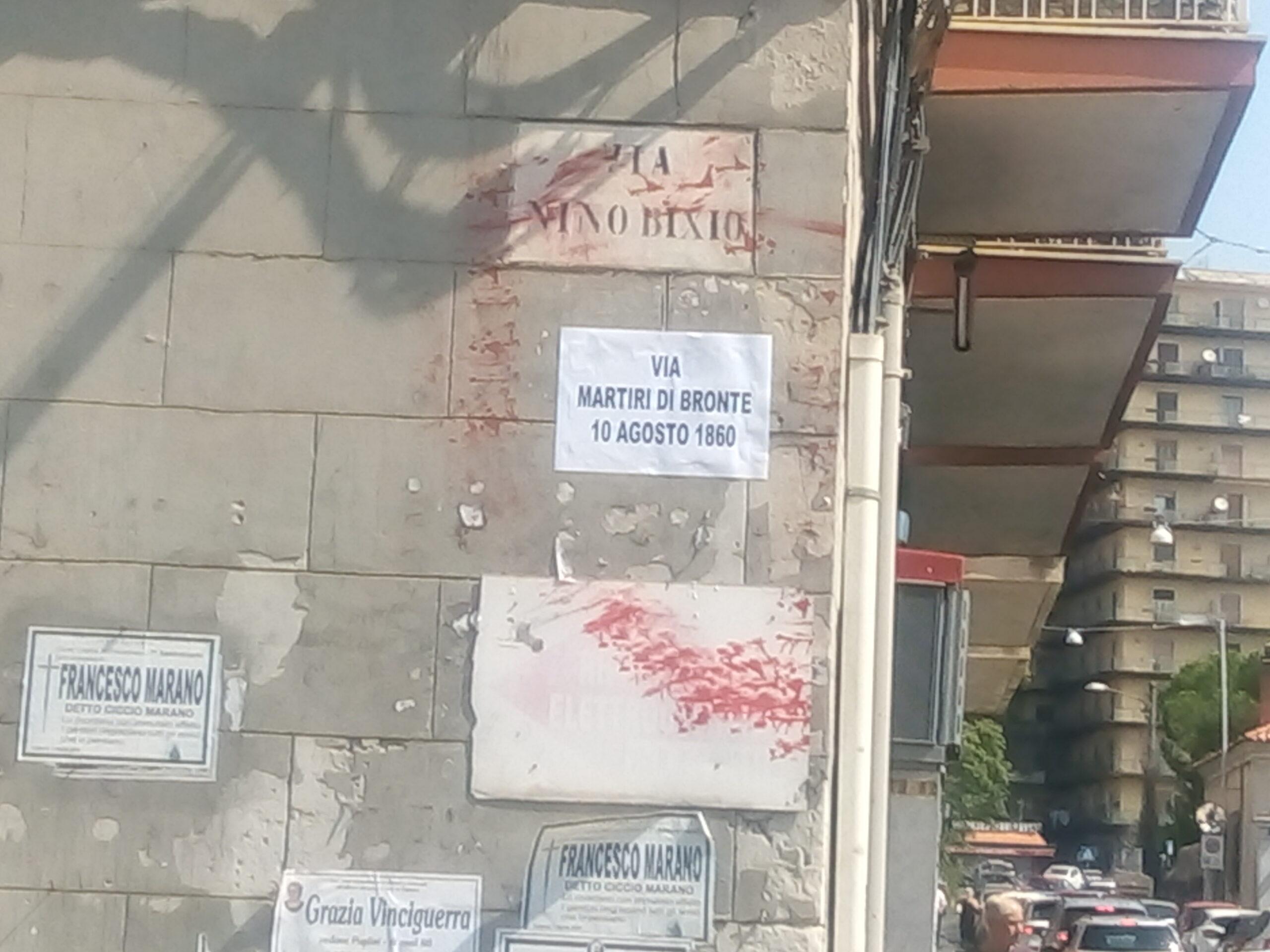 Catania, vandali imbrattano le targhe di via Nino Bixio a 160 anni dal Massacro di Bronte – FOTO