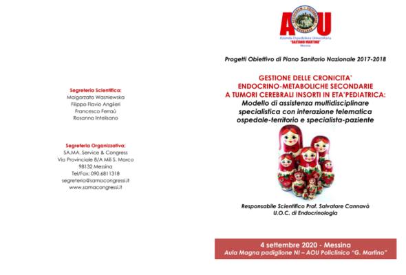 """Progetto """"Gestione delle cronicità endocrino-metaboliche secondarie a tumori cerebrali in età pediatrica"""": presentazione al Policlinico di Messina"""