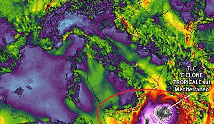 Ciclone tropicale in arrivo in Grecia, toccherà anche la Sicilia: temporali violenti e raffiche a 120 Km/h