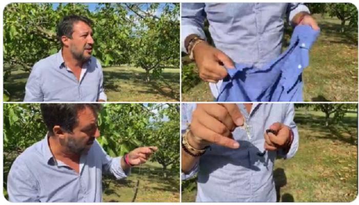 """Donna si scaglia contro Matteo Salvini, gli strappa la camicia e il rosario e urla: """"Io ti maledico!"""""""