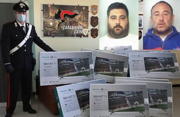 Catania, zio e nipote rubano Smart Tv durante scarico merci di un camion: arrestati – NOMI e FOTO