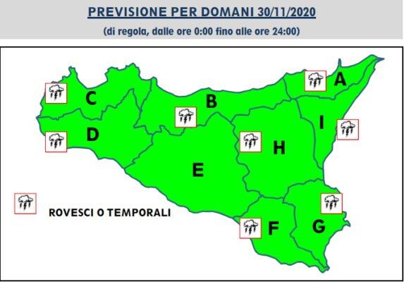 Meteo Sicilia, niente allerta ma il maltempo prosegue la sua corsa: ecco le previsioni per il 30 novembre