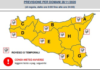 Allerta meteo Sicilia, maltempo in tutta l'Isola: rovesci, attività elettrica e forti raffiche di vento