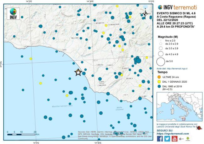Terremoto Ragusa Sicilia 22 dicembre 2020 INGV