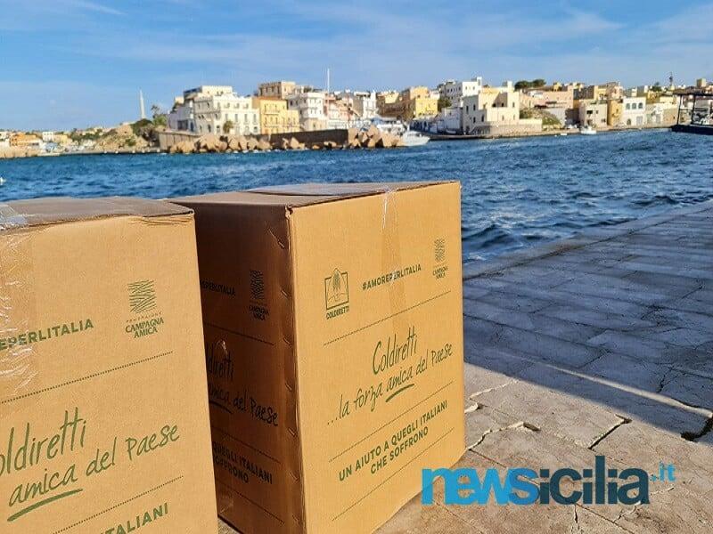 Aiuti a isole minori colpite da emergenza Covid: Coldiretti Sicilia consegna pacchi con alimenti