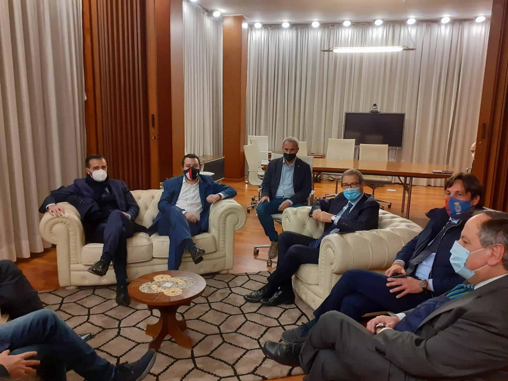 Ponte sullo Stretto, infrastrutture ed economia in Sicilia: incontro tra Musumeci, Salvini e Catalfamo