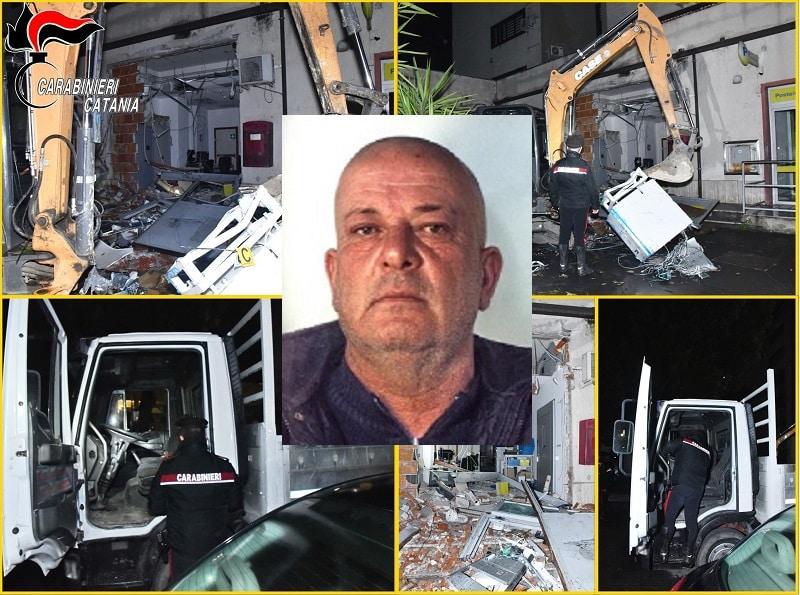 Catania, tentano un furto alle Poste con un'escavatore rubato poco prima: un arresto, si cercano i complici