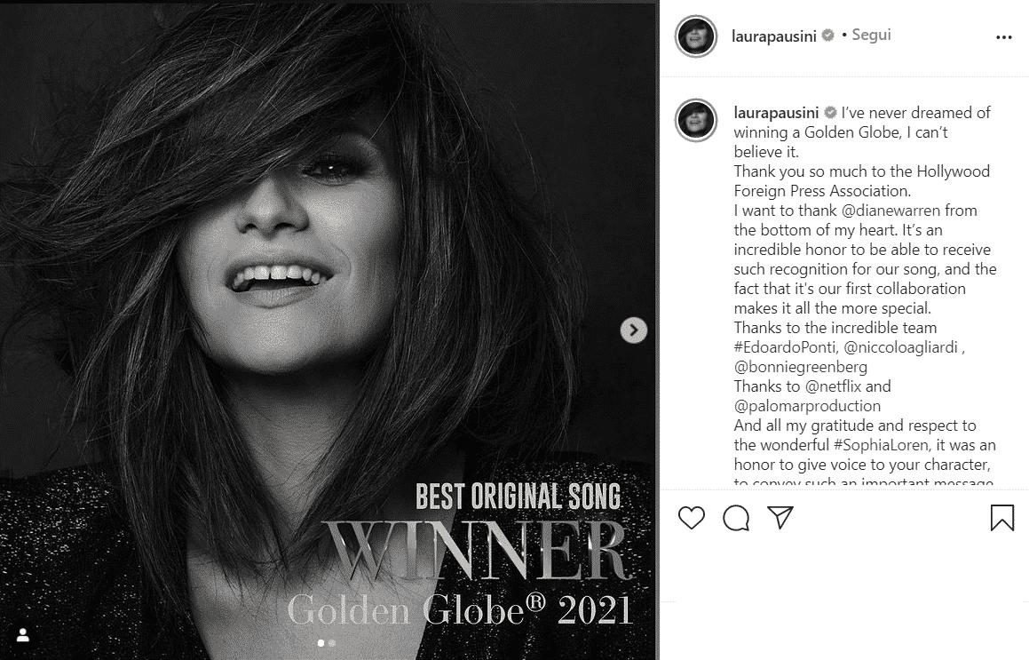 """""""Io sì"""", Laura Pausini vince al Golden Globe per la migliore canzone originale: """"Non ci posso credere"""""""